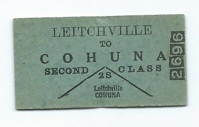 LEITCHVILLE - COHUNA  2nd Class Single Ticket