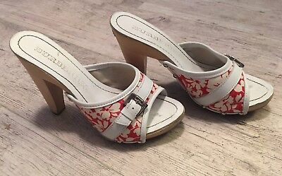 Burberry Wooden Slide on High Heel Red Floral Pattern Size EU 36 US 6