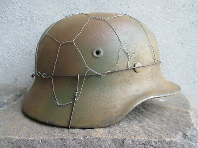 Ww2 Wwii M40 Ef64 German Helmet Normandy Spray Camo With Old Chicken Wire Cage