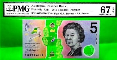 Money Australia 5 Dollars 2016 Reserve Bank Polymer Superb Gem Unc 67