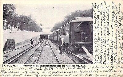 New York City Subway Postcard, Looking South from 123rd St., 1907