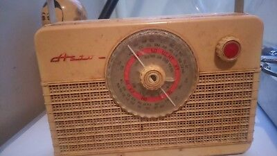 antique portable radio Bakelite I think .in leather carry case deceased estate