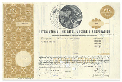 International Business Machines Corporation (IBM) Stock Certificate