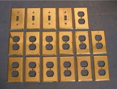 solid brass  4  light switch  13 outlet cover plate vintage ?