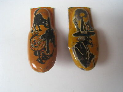 Vtg Kirchhof Halloween Small Clickers (2) Noisemakers Angry Black Cats Witch