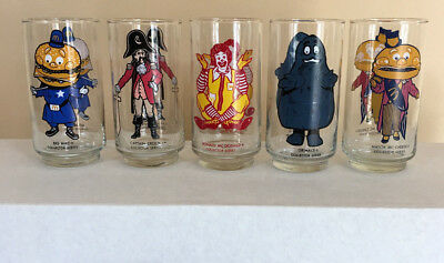 Vintage McDonalds Collector Series Glasses 1970's Set Of 5 different characters