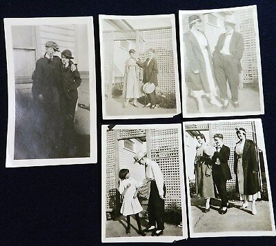 Vtg 1910s American Life PHOTO Snapshots Women Friends in Drag Dressed as Men