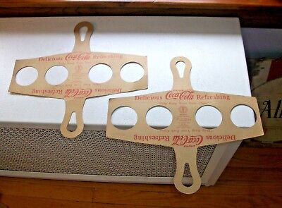 2 Coca Cola Cardboard Bottle Holders Tyson-Caffey Corp Handle Handy Carrier 1950