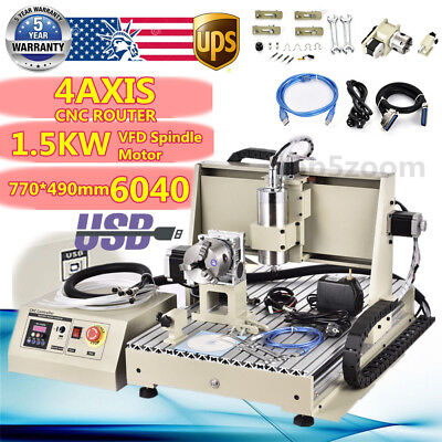 USB CNC Router 6040 4AXIS Desktop Engraver Engraving Mill/Drilling Machine 1500W