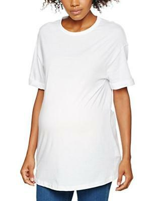 (TG. 42) New Look Maternity Boyfriend T-Back, T-Shirt Premaman Donna, Bianco (Wh