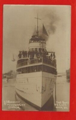 """(4105) RPPC SS ROOSEVELT ~MICHIGAN CITY IN  ~""""THE BOAT WE CAME OVER ON"""" c1910"""