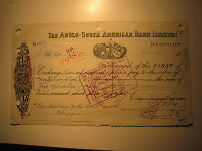 1922 note & tax stamp from The Anglo-South American Bank Ltd to Montgomery Ward