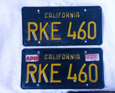 1963 California License Plates Matched Pair Set 63 Ca Black Yellow