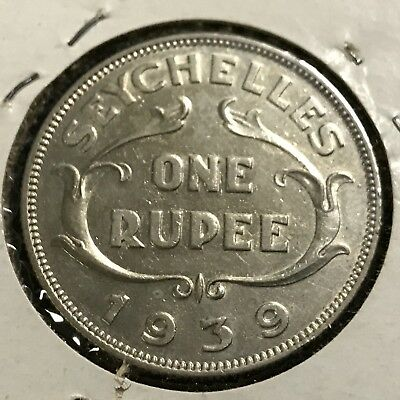 1939 Seychelles Silver One Rupee Higher Grade Coin 90,000 Mintage Scarce