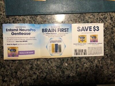 Enfamil Coupons Good for $3 off Infant or Gentlease Lot of 12 $36.00 Savings