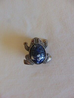 Sterling Silver & Marcasite Frog Pin Brooch Free Shipping