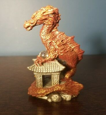 2002 MWFP Pewter Painted Dragon Holding Crystal Glass Ball w/ Diamond Cut Jewels