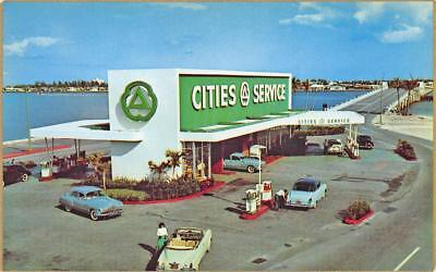 Miami FL The Broad Causeway Cities Service Gas Station Postcard