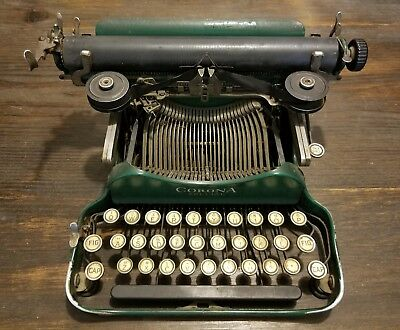 RARE Green Antique c1915 Folding Portable Typewriter Corona Special Standard Co.