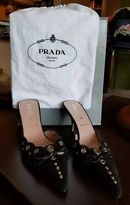 Prada Black Suede Shoes 36.5 Silver Slides Heels Stilettos 7.5