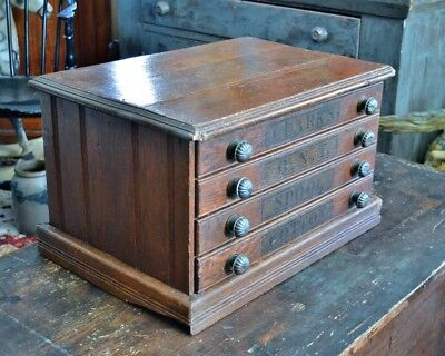 Antique Clarks Four Drawer Spool Cabinet *