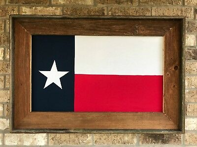 "Rustic Framed Texas Flag 26"" X 38"" - Lonestar Wood Framed"
