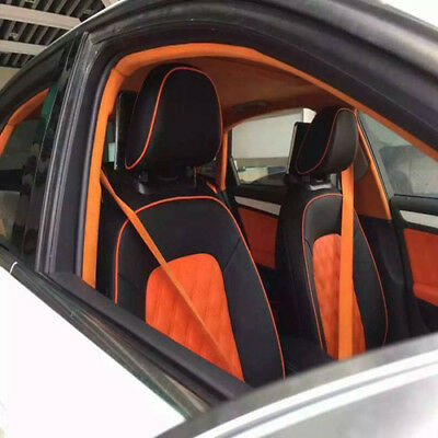 1PC Orange 4.8cm Racing Car Harness 3 Point Front Safety Retractable Seat Bel