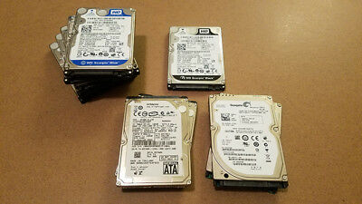"""Lot of 10 Assorted Brands 160GB 2.5"""" SATA Laptop Drives Wiped and Tested"""