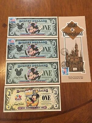 Disneyland Disney Dollars One Dollar Mickey Mouse 1988 A Series Consecutive