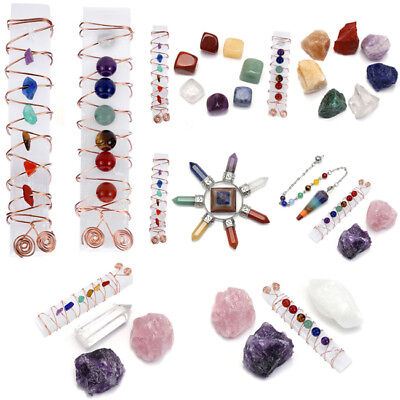Wire Filigree Wrap Selenite 7 Chakra Beads Healing Crystal Stones Display Set