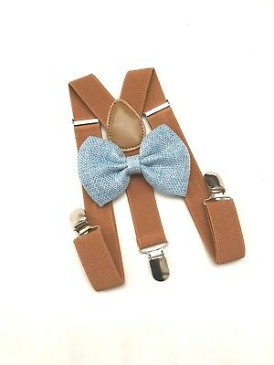 Barnyard Suspender and Blue Bow Tie Set for Baby Toddler Kids Boys Girls (USA)