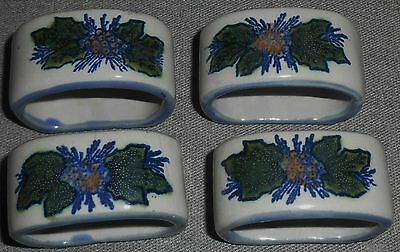 Set (4) Louisville Stoneware NAPKIN RINGS Leaf/Berries Pattern USA