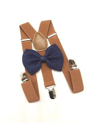 Suspender and Bow Tie Blue Baby Toddler Kids Boys Girls Child SETS USA seller