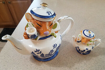 PAUL CARDEW DORMOUSE Blue Willow Limited Edition Numbered TEAPOT + S&P Shaker