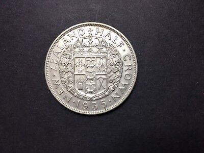 New Zealand, George V, 1/2 Crown, 1935, EF(40-45), Silver, VERY SCARCE