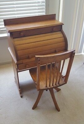 Vintage Oak Child Roll Top Desk With Swivel Oak Chair