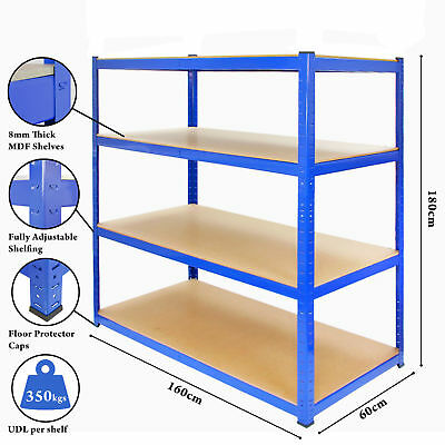 Extra Heavy Duty Shelving 4 Level Garage Steel Racking 350kg UDL Blue Racking