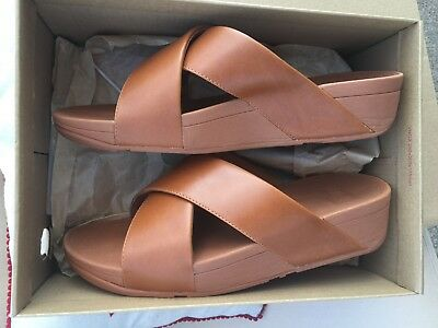 3c7399478115 FITFLOP Lulu Cross Slide Leather Sandals In Caramel Size 7 Worn Once!! RRP £