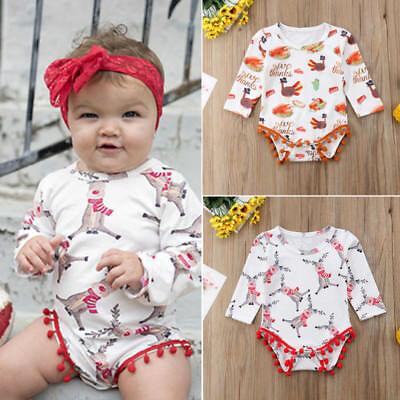 AU Cute Infant Baby Girl Halloween&Thanksgiving Rompers Bodysuit Outfits Clothes
