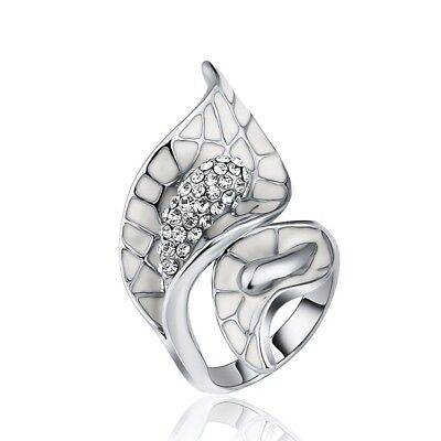 Women White Gold Plated Micro Pave Leaf Flower Cubic Zirconia CZ Ring Jewelry