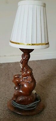 Antique  Hand Carved Anglo/indian  Wooden Elephant Table Lamp