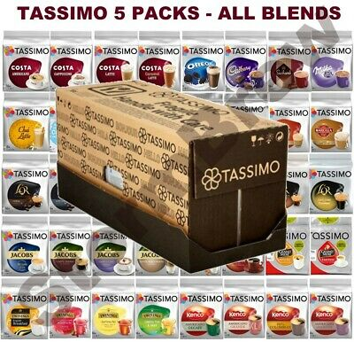 5 PACKS of TASSIMO T-DISCS, COFFEE, TEA, HOT CHOCOLATE PODS CAPSULE. ALL BLENDS