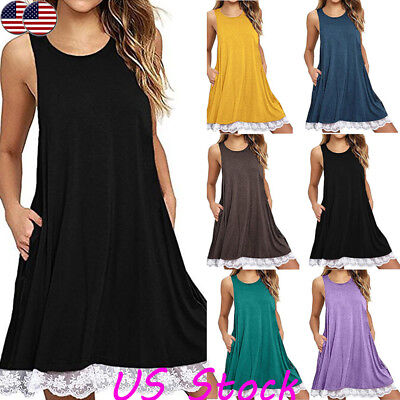 Sexy Summer Loose Tunic Summer Party Lace Hem Sleeveless Mini Dresses for Women