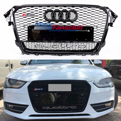 Front Upper Mesh Grille RS4 Style For Audi B8.5 A4 S4 2013-2015 W/ Quattro Black