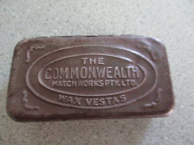 Vintage The Commonwealth Match.works PTY-Ltd Wax VESTAS Tin