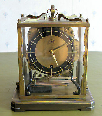 Antique Aug Schatz & Sohne Triple Chime Brass Mantle Clock