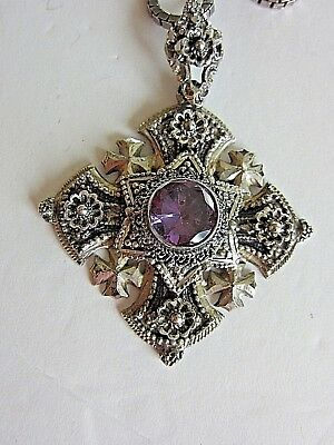 Vintage Jerusalem Cross, 800 Silver, Purple Stone With Sterling Chain, Necklace