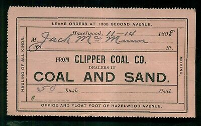 1898 Hazelwood,PA - Clipper Coal Co. Receipt - Dealers in Coal and Sand