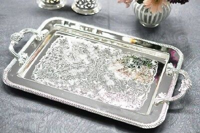 Vintage Silver Plated Tray With Handles Plain Side Design Made in UK
