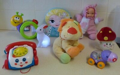 Bulk Toddler Toys (8 ) -Music, Numbers, Rattles, Plush - Fp/mattel/disney/g'berg